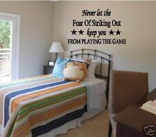 Wall Decal Never Let The Fear Of Striking Out Wall Lettering Vinyl Decor Sports