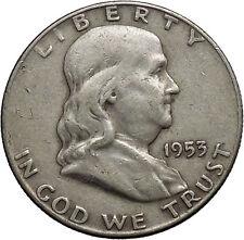 1953 Benjamin Franklin Silver Half Dollar United States Coin Liberty Bell i44591