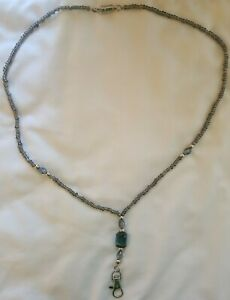 Silver and Blue Women's Beaded Lanyard w/break away magnetic clasp 30 inches