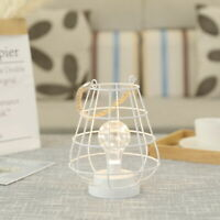 """Decorative metal lamp battery operated table lantern 8.5"""" high cordless LED lamp"""
