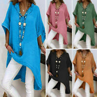 Womens Summer Loose Casual Short Sleeve Solid T-Shirt Tunic Tops Blouse Plus Tee