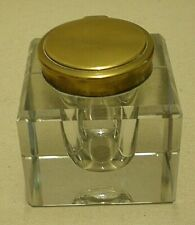 Clear Crystal Cube Inkwell Hinged Top