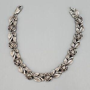 """Sterling Silver Rose Link Bracelet 7"""" 12.7g"""