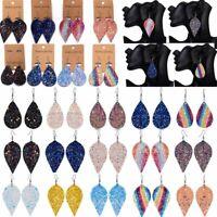 Fashion Genuine Leather Women Leaf Teardrop Drop Dangle Hook Earrings Jewelry