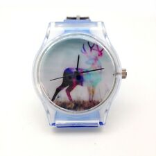 "Montre Design ""Caribou"" bracelet plastique Bleu transparent / Fashion watch"
