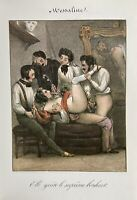 Erotic Nude Sex Penis Vagina Erotik Antique Love Art Lithography France 1840