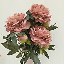 Bunch of 3 Large Dusky Pink Artificial Silk Peonies ,Beautiful Faux Flowers
