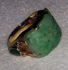 VINTAGE RICH 18K + YELLOW GOLD GREEN CURVED CARVED JADE JADITE RING SOLID APPLE
