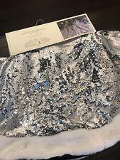 "Silver Gray Sequin Faux Fur Trim Christmas Tree Skirt Christian Siriano 60"" New"