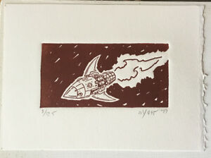 Voom!  Rocketship, Original Relief Print