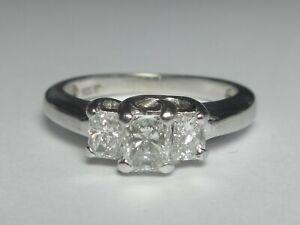 14CT WHITE GOLD 0.75CT 3 X RADIANT CUT DIAMOND RING