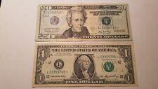 USA 2006 $20 & $1 Dollars Star Bank Note FRB San Francisco CA