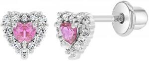 Rhodium Plated Heart Shape Crystal Stud Earrings Screw Back Gift For Girls Teens