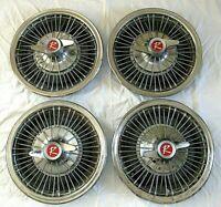 "AMC Rambler 14"" Hubcaps American Motors Wire Wheel Spinner 1966 Ambassador Set 4"