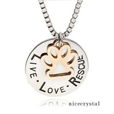 1pc Live Love Rescue Paw Print Pendent Necklace Pet Animal Lover Memorial Gift