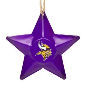 Minnesota Vikings Christmas Tree Holiday Ornament New - Team Logo Metal 3D Star
