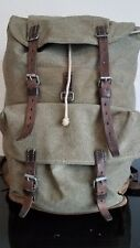 Vintage Swiss Army Military Backpack Rucksack 1960s Canvas Salt & Pepper Bag