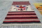 Authentic Hand Knotted Vintage Mexico Pictorial Wool Kilim Kilm Area Rug 7 x 4