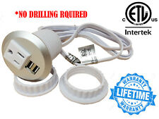 Table Desktop Power Grommet Outlet 1 US Plugs  2 USB Ports Charger - NO DRILLING