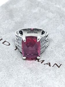 DAVID YURMAN 925 Silver 16x11mm Tides w/ Pink Tourmaline & Diamond Ring Sz7