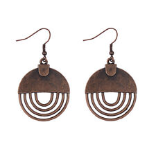 Women Retro Round Carved Hollow Copper Drop Dangle Ethnic Alloy Vintage Earrings