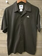 Adidas 3-Stripes Short Sleeve Button Front Men's Shirt Size S Vintage Rare