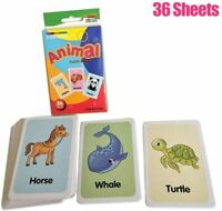 Animals Flash Cards Set Educational Early Learning Picture Word Zoo SEN 36 Cards