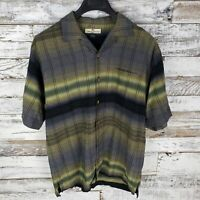 Tommy Bahama Mens Short Sleeve Button Down Silk Camp Shirt Striped Plaid Sz M