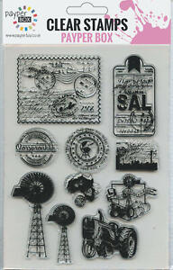 NEW Clear Acrylic Craft Stamp Set Postcards.