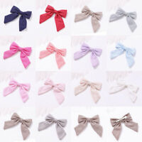 Cotton Linen Solid Color Long Tail Bow Hair Clip Alligator Clip Girls Barrettes