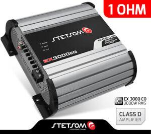 Stetsom EX3000 EQ - 1 Ohm Car Audio compact HD Amp 3000 Watts + FREE Sticker