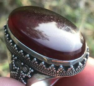 Yemeni AQEEQ SHEFAT AL ABED Black Akik Halik Silver SUFI Ring شفة العبد عقيق يمن