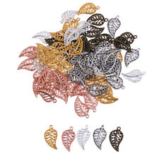 75pcs Assorted Color Vintage Filigree Leaf Charms Pendants Jewelry Findings
