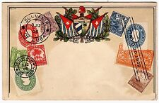 CUBA  - Old Postcard with Embossed Stamps  1902
