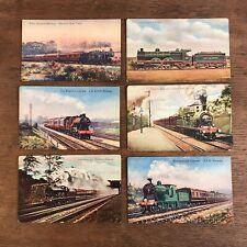 Vintage ArtoType Series Trains Locomotives Postcards Lot of 6 (E1)