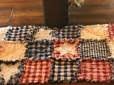 NEW Homespun PriMiTivE Rag Quilt Table Runner Americana Blue Red Tan Star Plaid