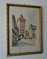 alsace - porte haute de riquewihr - aquarelle signé