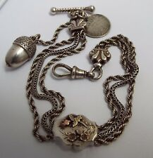 Belle Véritable Anglais Antique 1885 Argent Massif Albertina pocket watch chain