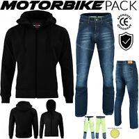 Mens Motorbike Motorcycle Jeans MADE with KEVLAR & Waterproofed SoftShell Hoodie