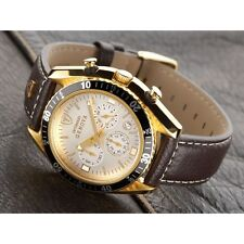 Gold Plated Case Polished Watches with Chronograph