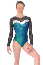 TUTA da ginnastica turn Tuta Tessuto Vernice + rete + strass TG. 152 zone 934 ULTRA Mermaid * NEW *