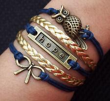 Damen Armband Hoffnung Hope Eule Unendlichkeit Infinity Gold Bronze blau modisch