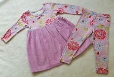 BABY LULU Sampson Chenille Dress Leggings Set 3T 3 Purple Pink Roses Floral vtg