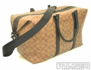 NEW - COACH Trekker Beige Signature Canvas Leather Monogram Gym Bag Tote 77922