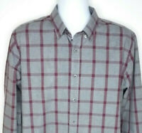 Untuckit Slim Fit Gray Burgundy Plaid Long Sleeve Shirt Mens Size XL NEW