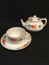 Vintage Crown Ducal Ware Art Deco Orange & Lemon Design Tea Pot Cup & Saucer