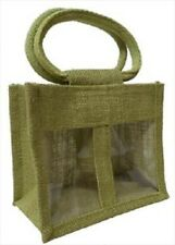 2 JAR JUTE BAG with Window,Partition & Cotton Corded Handles - Green