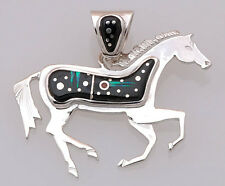 Calvin Begay Navajo Sterling Silver with Night Sky Inlay Horse Pendant