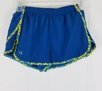 Under Armour Heat Gear Women's Blue Running Shorts Size Small Semi Fitted