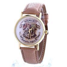 Reloj de Cuarzo nuevo Harry Potter Hogwarts oro ante Beige Correa De Cuero